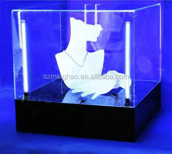 led acrylic lighted display case for jewelry