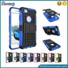 Kickstand hard plastic shockproof tyre mobile phone cover for iphone 7 7plus case