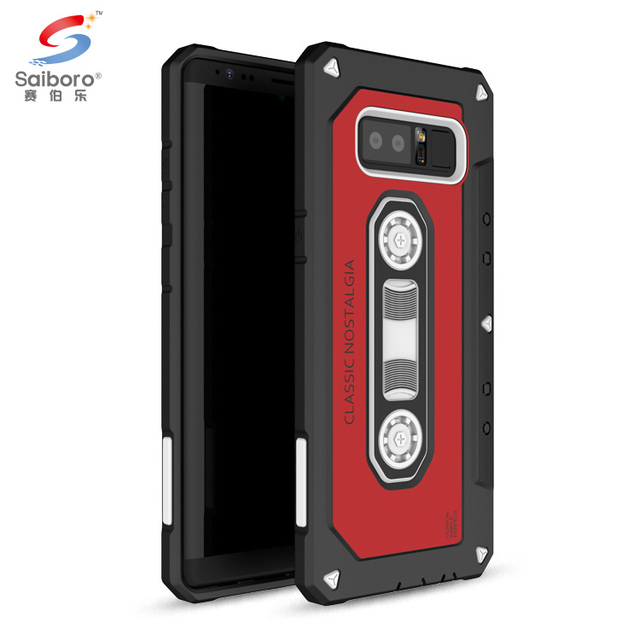 Mobile phone accessories shockproof cover tpu pc red tape case for samsung galaxy note 8 hybrid,for samsung note 8 cassette case