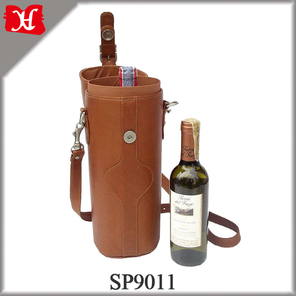 High Class good quality leather wine carrier cooler bag