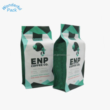 12oz coffee quad bottom bag 1kg flat bottom coffee packaging with pocket zipper Customized flat bottom foil box pouch packaging