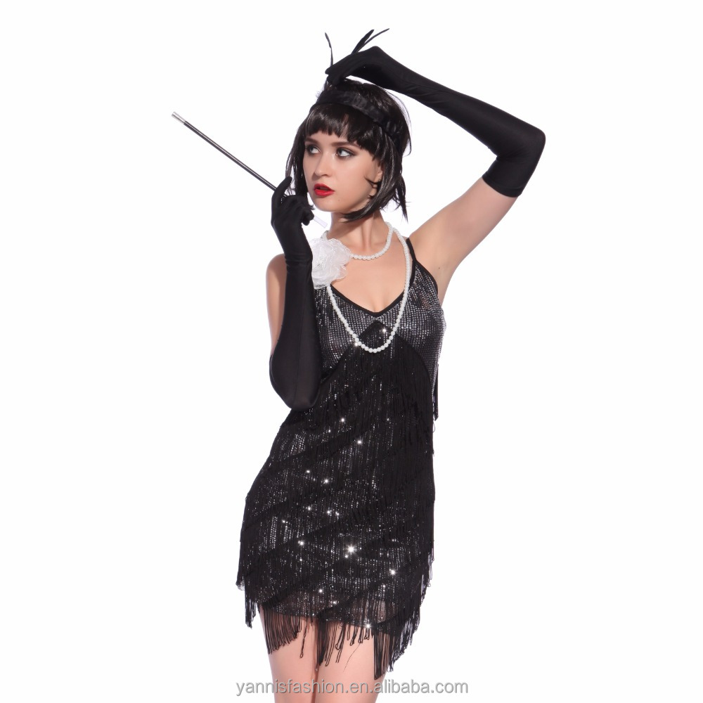 YSMARKET Dance Fringe Flapper Costume 1920s Great Gatsby Style Sequin Tassel V-Neck Cocktail Latin Party <strong>Dress</strong>
