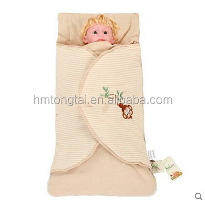 Embroidery Newborn infant baby cuddle blanket quilted baby sleeping bag