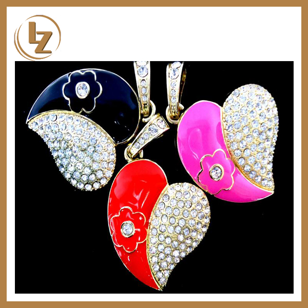 Promotional USB Filled with Diamand Jewelry Diamond USB Flash Drive 2.0 USB Memory Stick Heart Shape