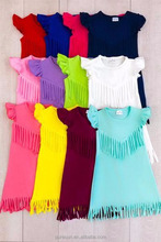 100% cotton fringe baby girl summer dress