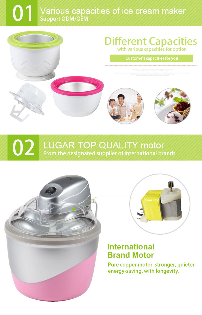 Small Scale Electric Homemade 0.8L Ice Cream Maker With Ce/Rohs/LFGB Certificates