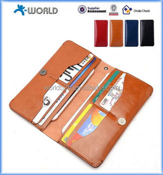 Universal Wallet Leather Case waterproof leather wallet case dustproof leather wallet for smartphone