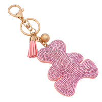 Leather Tassels Hot Drilling Key Chain Cute Bear Shaped Rhinestone Leather keychain