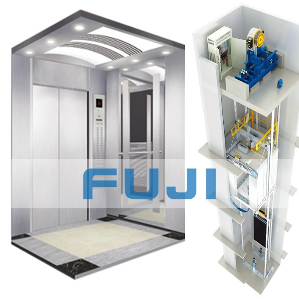 FUJI Passenger Lift with Hairline Stainless Steel cabin and doors
