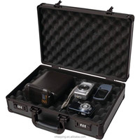 Padded Camera or Pistol Storage Case, Black Hard Aluminum Handgun Briefcase Safe