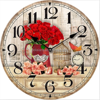 Natural living red rose and cage design hand carved wooden clocks