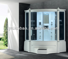 Comfortable Bathroom Shower Cabin with Sauna Steam with step and bathtub for 2 person