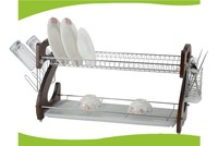 MD225 metal +coffee color wooden kitchen dish rack plate rack
