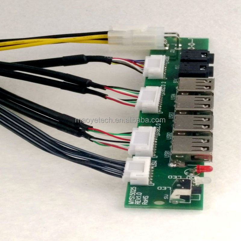 Front Panel 4 USB 2.0+12V power supply+LED and SW+HD AUDIO I/O PC Board Cable For Computer