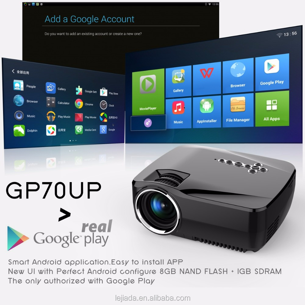 GP70UP Bluetooth WIFI simplebeamer Android4.4(8G+1G) Wireless 1200 lumens Portable mini projector outdoor projector