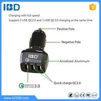 wholesale price 3 port phone car charger with dual QC2.0 usb plug plus QC3.0 fast charge