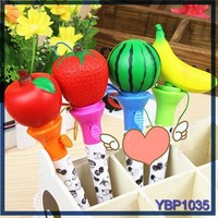 2015 High Quality children's stationery fruit ball pen toppers ballpoint pen parts
