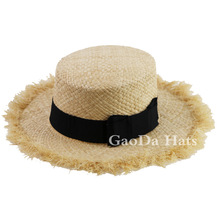 100% natural straw boater hat summer straw hat with ribbon band