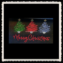Aprise - Rhinestone Iron on Transfer Hot Fix Bling merry Christmas colorful tree motif