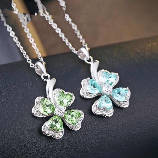 Fine jewelry <strong>100</strong>% 925 Sterling Silver <strong>A</strong> clover zircon necklace Free shipping