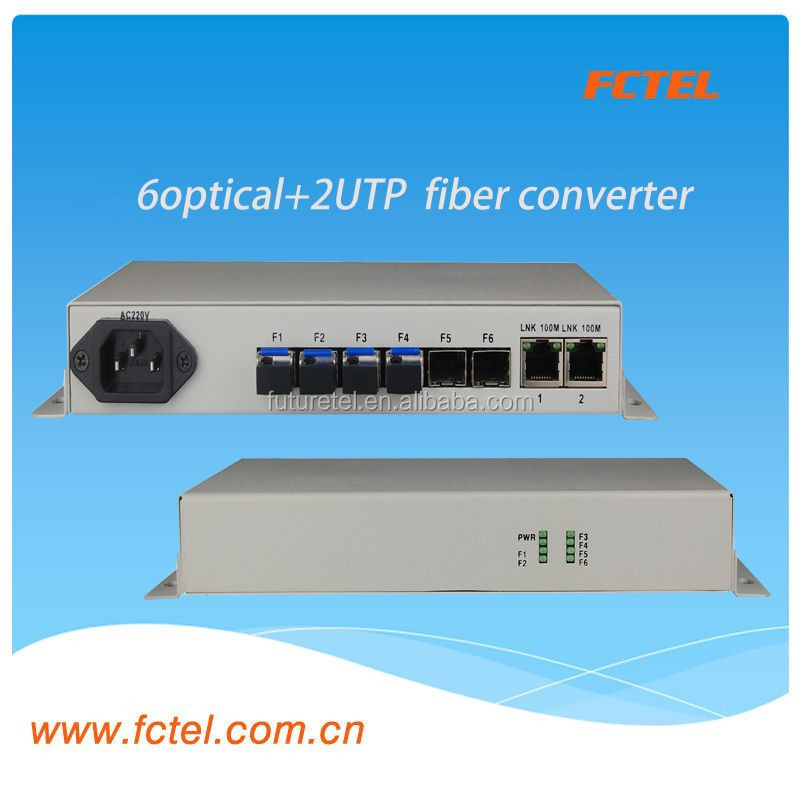 Communication Gateway Protocol Converter Cable modem 6*SFP+ 2UTP(10/100Mbps) +VLAN fiber media converter optic equipment