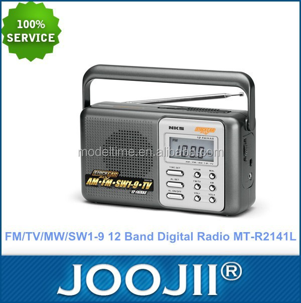 Portable FM/TV/MW/SW1-9 12 Band Digital Radio with Clock