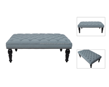 Velvet Tufted Coffee Table Long Ottoman Foot Stool Bench