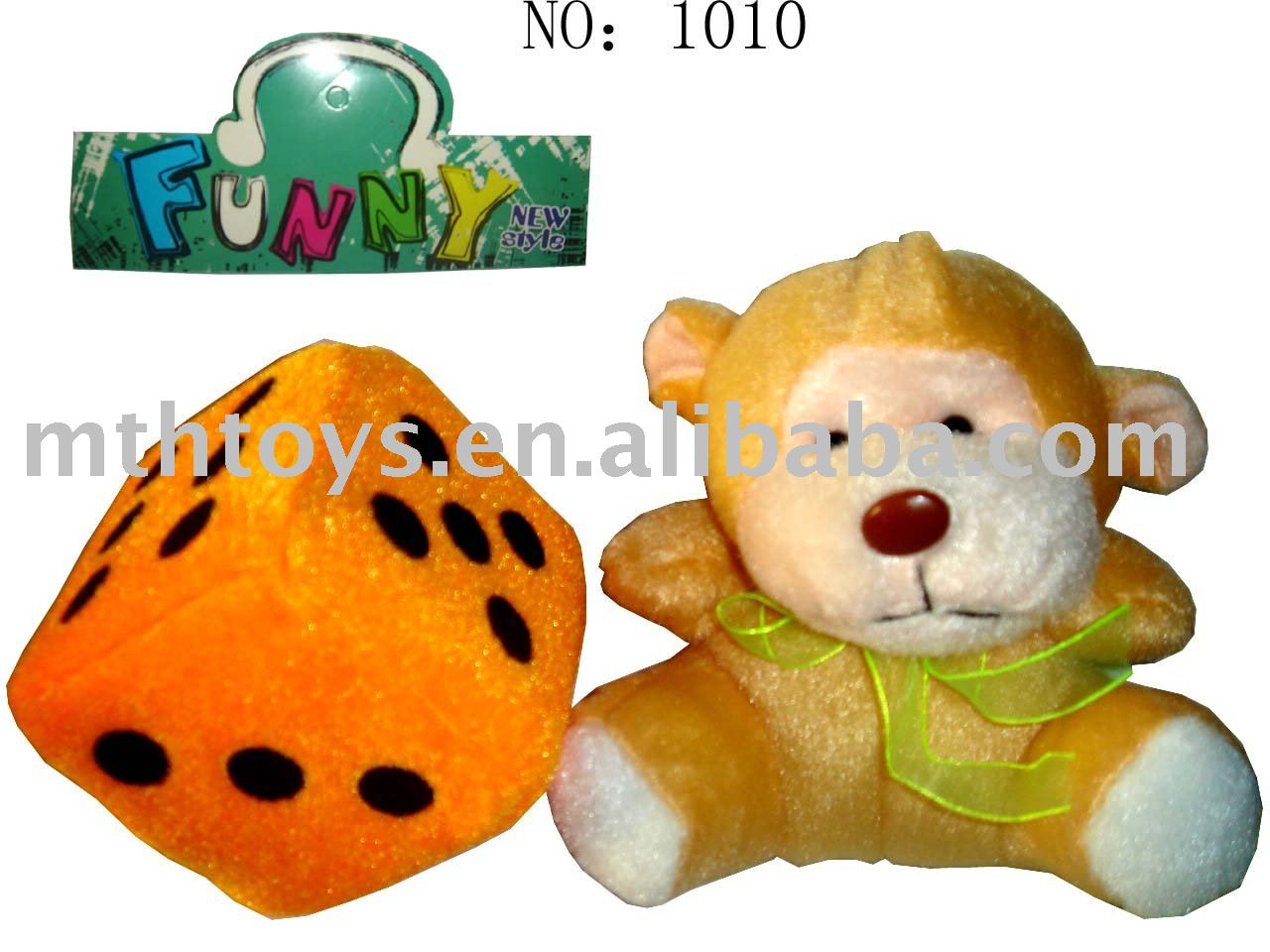 baby key chain toy plush toys+dice toy