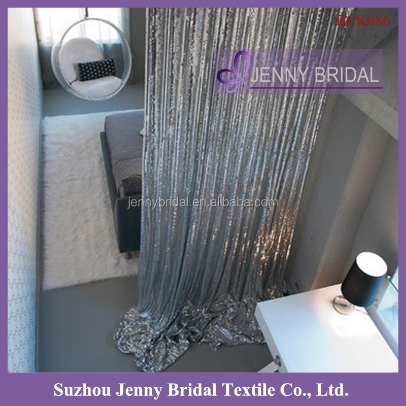BCK086 bathroom cafe silver sequin curtains