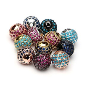 Latest Designs Bead Jewelry New beads Micro Pave CZ Disco Ball Bead