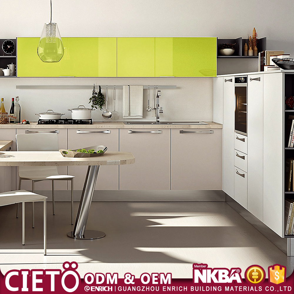Guangzhou white lacquer high gloss ready made Melamine MDF fiber Kitchen Cabinet