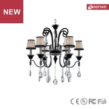 New product modern black 6 lights crystal blown glass chandelier
