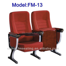 Fabric Folding chair seat for church with solid wood armrest