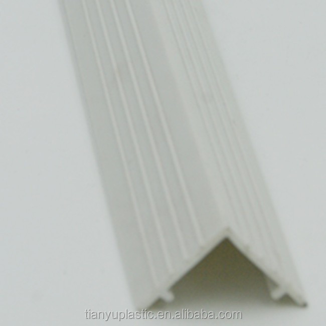 Cool extrusion L shape plastic profile decoration white PVC cover strip