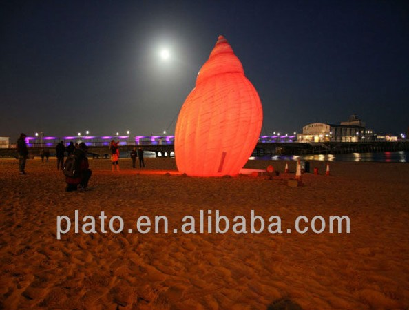 Event outdoor decoration inflatable conch/advertidsing inflatable helium sea snail with led light for beach