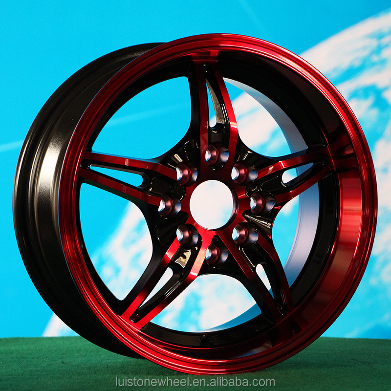 14 inch red full painting aftermarket wheels rims for car 4 hole L079