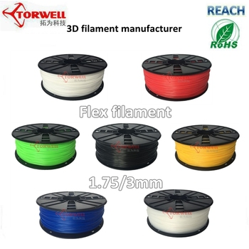Torwell 3D filament 1.75/3mm TPE Flexible plastic consumables for all FDM 3D printer