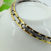 24k gold stainless steel bracelet with health elements
