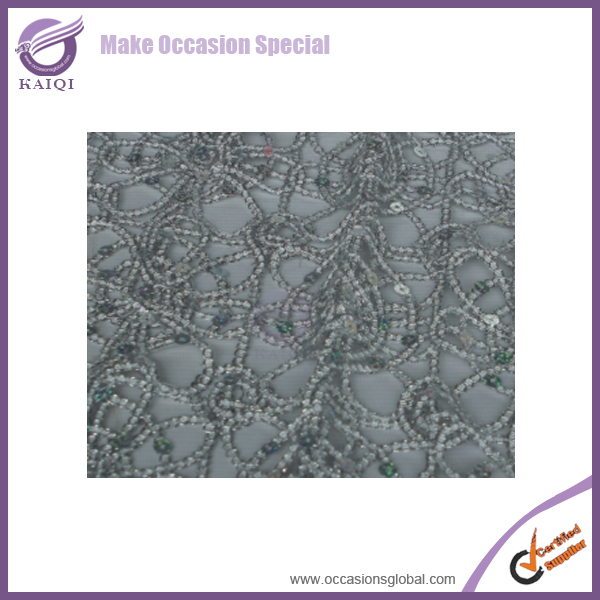 #19810 Silver Chemical Lace Embroidery Fabric Sequin Table Overlay