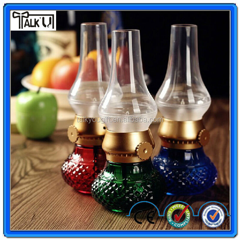 Antique plastic blowing control USB charging led kerosene lamp, Retro electrical table LED kerosene lamp