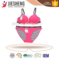 lovely bra sets for cute girl,teen girl bra and panty bikini ,hellokitty print underwear for young lady name brand (accept OEM)