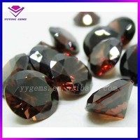 Diamond Cut Shaped Round Semi Precious Brown CZ Stones for Jewelry