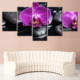 Frameless Modern Hotel Decoration Canvas Artwork Printed 5Panel Giclee Digital Photo Printing