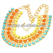 2013 Gorgeous statement necklace, colorful multi strand bead landing collar necklace