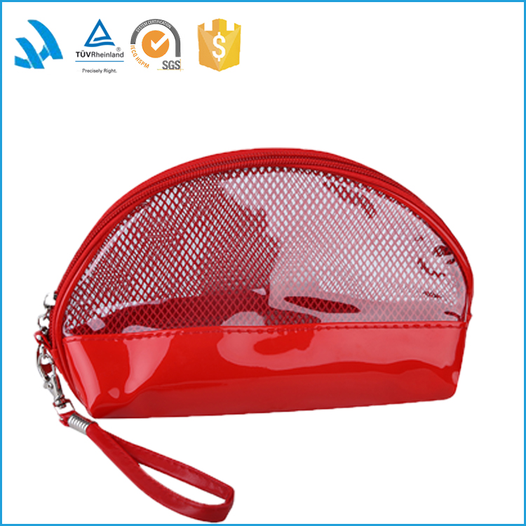 Wholesale red PVC tote cosmetic toiletry bag