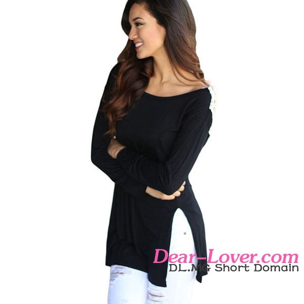 New Stylish Wholesale Black Crochet Side Slit Long Sleeve Casual Blusa