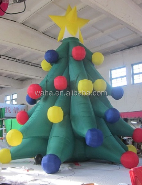 10ft/16ft/20ft christmas advertising tree with ball and star/inflatable/christmas tree advertising W283