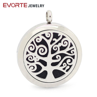 Hot Sale Tree Design magnet locket necklace 316L Stainless Steel Aromatherapy Diffuser Locket Pendant