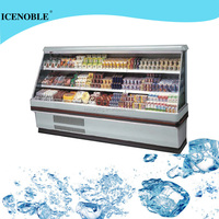 half height standing air curtain display refrigerator for coco and beverage