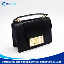 Guangzhou brand name trendy black real leather women handbags 2017